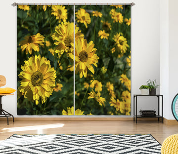3D Yellow Sunflower 035 Jerry LoFaro Curtain Curtains Drapes