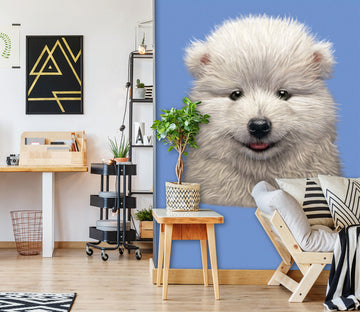 3D White Dog 1544 Wall Murals Exclusive Designer Vincent