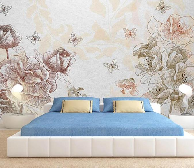 3D Flower Butterfly 170 Wall Murals