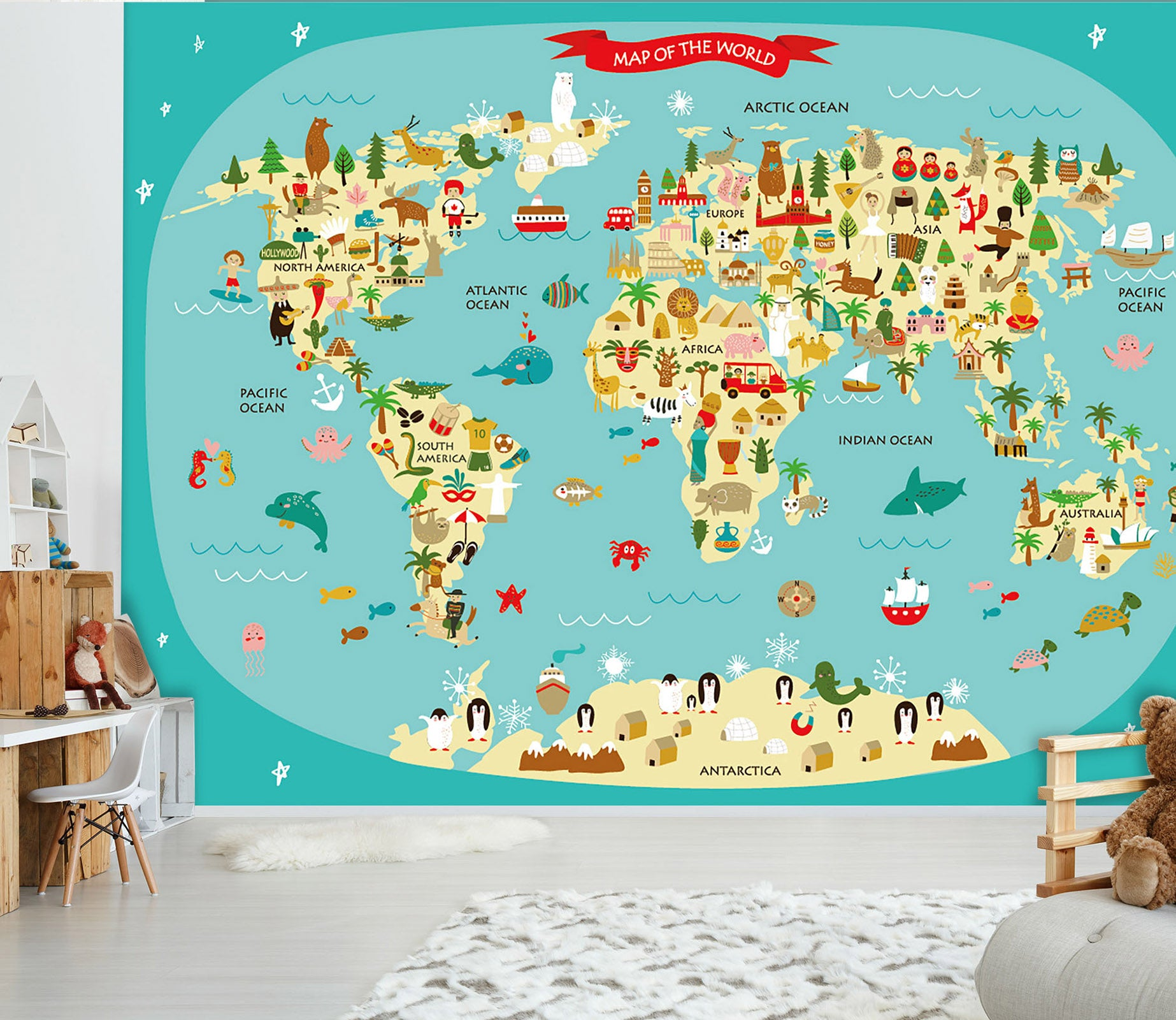 3D Cartoon Animal Map 039 Wall Murals