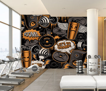 3D Fitness Dumbbell 300 Wall Murals