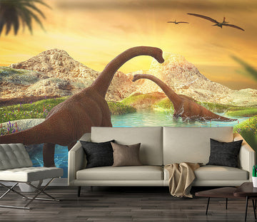 3D Dinosaur Lake Water 1579 Wall Murals