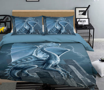 3D Silver Dragon 080 Bed Pillowcases Quilt Exclusive Designer Vincent