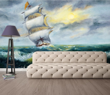 3D Wave Boat WC998 Wall Murals