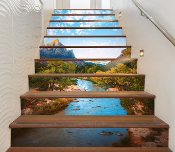 3D Tranquil Mountain Lake 633 Stair Risers