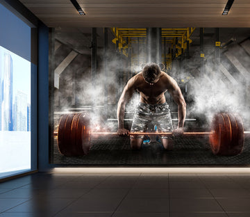 3D Barbell Squat 303 Wall Murals