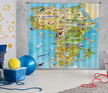 3D Africa Map 037 Michael Sewell Curtain Curtains Drapes