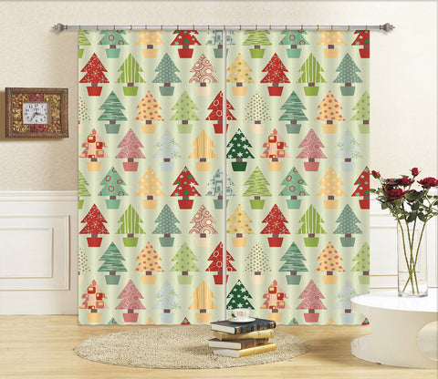 3D Colored Christmas Tree 72 Curtains Drapes