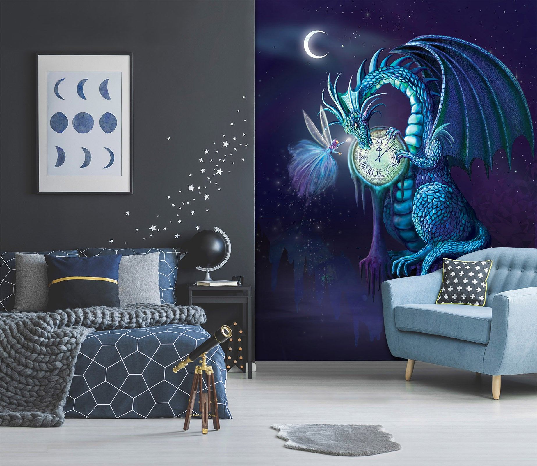 3D Night Dragon 1420 Rose Catherine Khan Wall Mural Wall Murals
