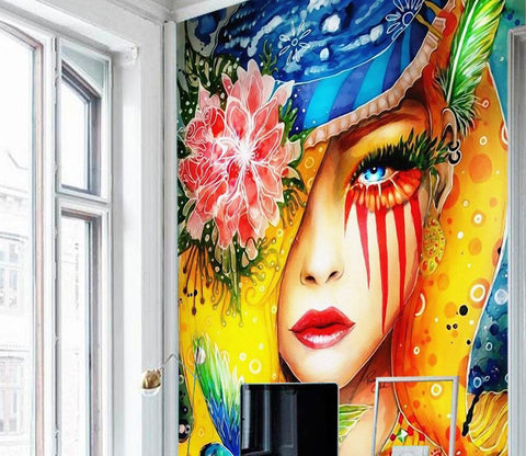 3D Color Lady Avatar 438 Wall Murals