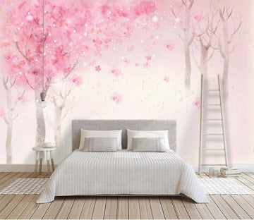 3D Pink Forest WC94 Wall Murals