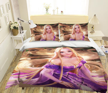 3D Blonde Princess 450 CG Anime Bed Pillowcases Duvet Cover Quilt Cover