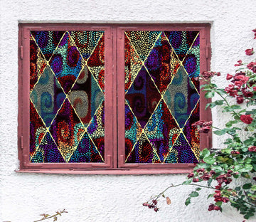 3D Color Artistic 450 Window Film Print Sticker Cling Stained Glass UV Block