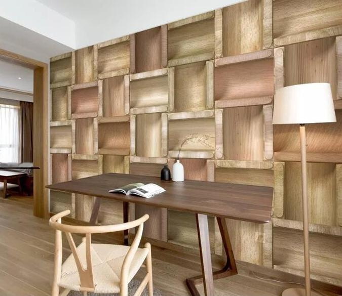 3D Wooden Geometry 107 Wall Murals