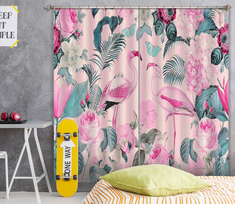 3D Flamingo Forest 056 Andrea haase Curtain Curtains Drapes