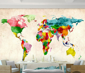3D Color World Map WG169 Wall Murals