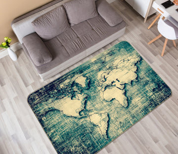 3D Sketch Pattern 297 World Map Non Slip Rug Mat