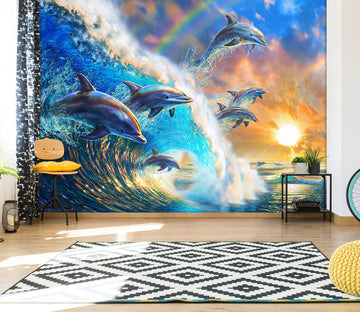 3D Dolphin Wave 1416 Adrian Chesterman Wall Mural Wall Murals