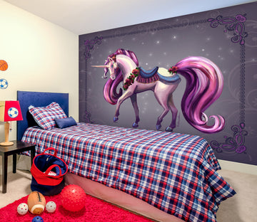 3D Purple Unicorn 1414 Rose Catherine Khan Wall Mural Wall Murals