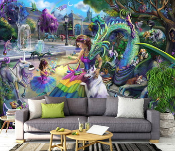 3D Dragons Garden 1410 Rose Catherine Khan Wall Mural Wall Murals