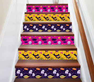 3D Magical Halloween Ghosts 654 Stair Risers