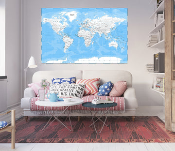 3D Abstract Clouds 256 World Map Wall Sticker