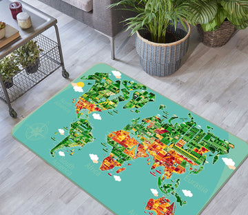 3D Abstract Painting 250 World Map Non Slip Rug Mat