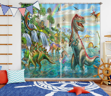 3D Giant Dinosaur 058 Adrian Chesterman Curtain Curtains Drapes