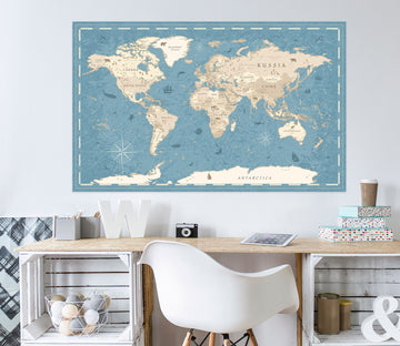 3D Abstract Clouds 286 World Map Wall Sticker