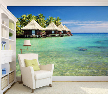 3D Sea View Cottage 029 Wall Murals