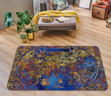 3D Golden Pattern 311 World Map Non Slip Rug Mat