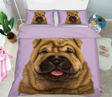 3D Shar Pei Puppy Portrait 077 Bed Pillowcases Quilt Exclusive Designer Vincent