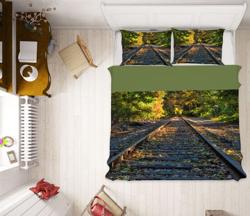 3D Railway Forest 1030 Jerry LoFaro bedding Bed Pillowcases Quilt