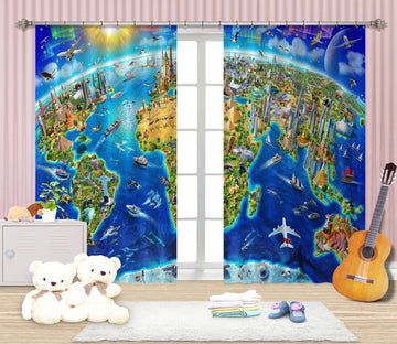 3D World Landmarks Globe 061 Adrian Chesterman Curtain Curtains Drapes