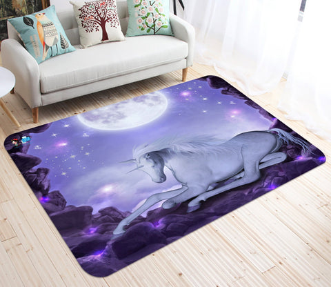 3D Moon Dreamy Unicorn 19 Non Slip Rug Mat Mat AJ Creativity Home