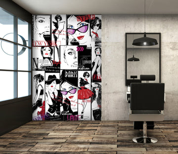 3D Suit Red Lips Girl 001 Wall Murals