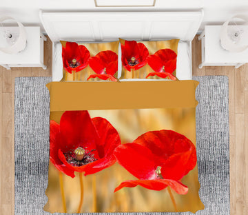 3D Twins Poppies 163 Marco Carmassi Bedding Bed Pillowcases Quilt