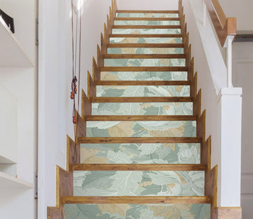 3D Green Leaf 477 Stair Risers Wallpaper AJ Wallpaper