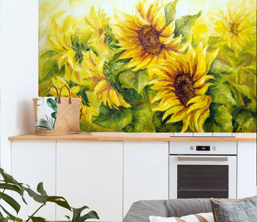 3D Oil Painting Sunflower 151 Wall Murals