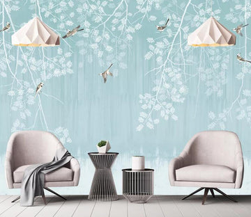 3D White Leaf WC1820 Wall Murals