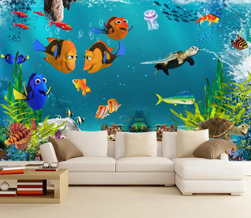 3D Jellyfish Turtle WC2678 Wall Murals