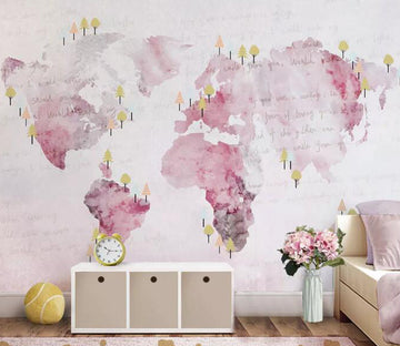 3D Pink World Map WG831 Wall Murals