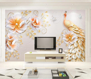 3D Orange Peacock WC1788 Wall Murals