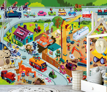 3D Cartoon Car WG468 Wall Murals