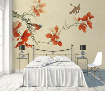 3D Maple Leaf Bird WC1791 Wall Murals