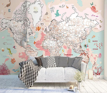 3D Pink World Map WC1536 Wall Murals