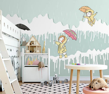 3D Raining Umbrella WC2235 Wall Murals