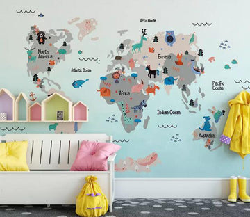 3D Animal World Map WG765 Wall Murals