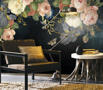 3D Vintage Flower WC1546 Wall Murals