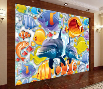 3D Dolphin Fish WC2640 Wall Murals